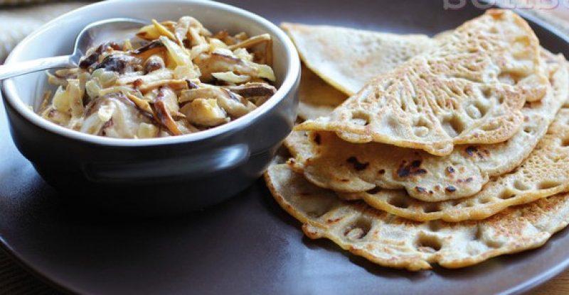 buckwheat, shiitake mushrooms, pancakes