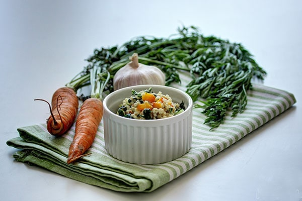 Millet with swiss chard and stuffed eggplant